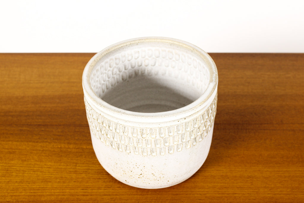#1567 —Ceramic Stoneware Modernist Planter — Large Facet pattern — Matte White Glaze — P84