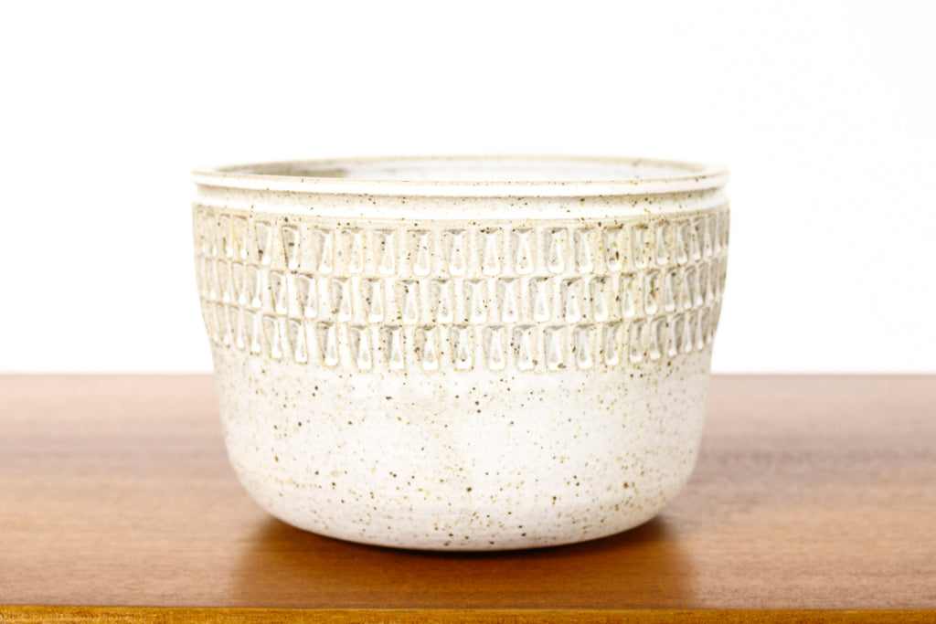 #1568 —Ceramic Stoneware Modernist Planter — Large Facet pattern — Matte White Glaze — P85