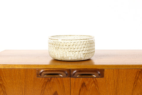 #1573 —Ceramic Stoneware Modernist Planter — Small Delta pattern — White Glaze — P90