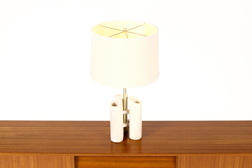 #1652 — Geometric Brutalist Stoneware Table Lamp — White Stoneware —  Brass Detailing