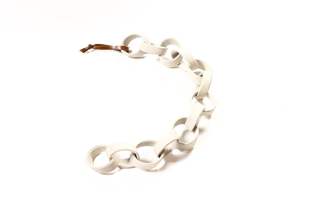 #1694 — Modernist Extruded Ceramic Wall Chain — White Stoneware — 13 Links