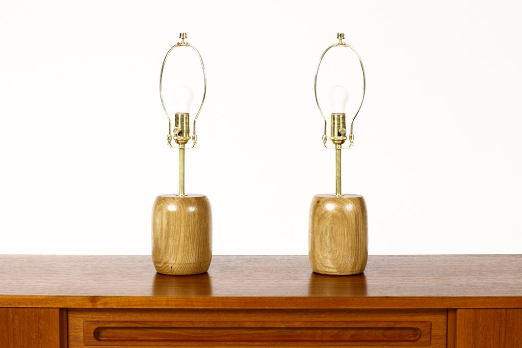 #1794 - Studio Craft White Oak Table Lamps — Lathe Turned with Brass Detailing — Pair — TL6