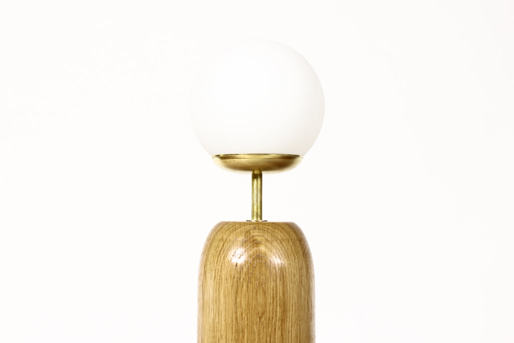 #1795 - Studio Craft White Oak Table Lamp — Lathe Turned with Glass Globe + Brass — TL7