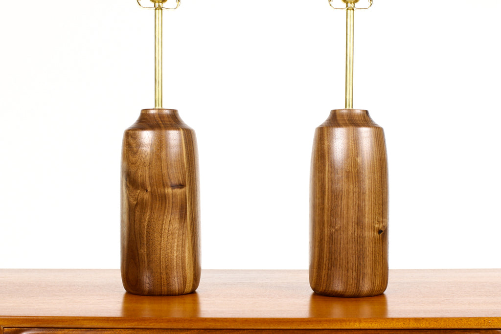 #1707 - Studio Craft Walnut Table Lamps — Lathe Turned with Brass Detailing — Pair — TL2