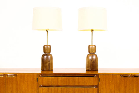 #1708 - Studio Craft Walnut Table Lamps — Lathe Turned with Brass Detailing — Pair — TL3