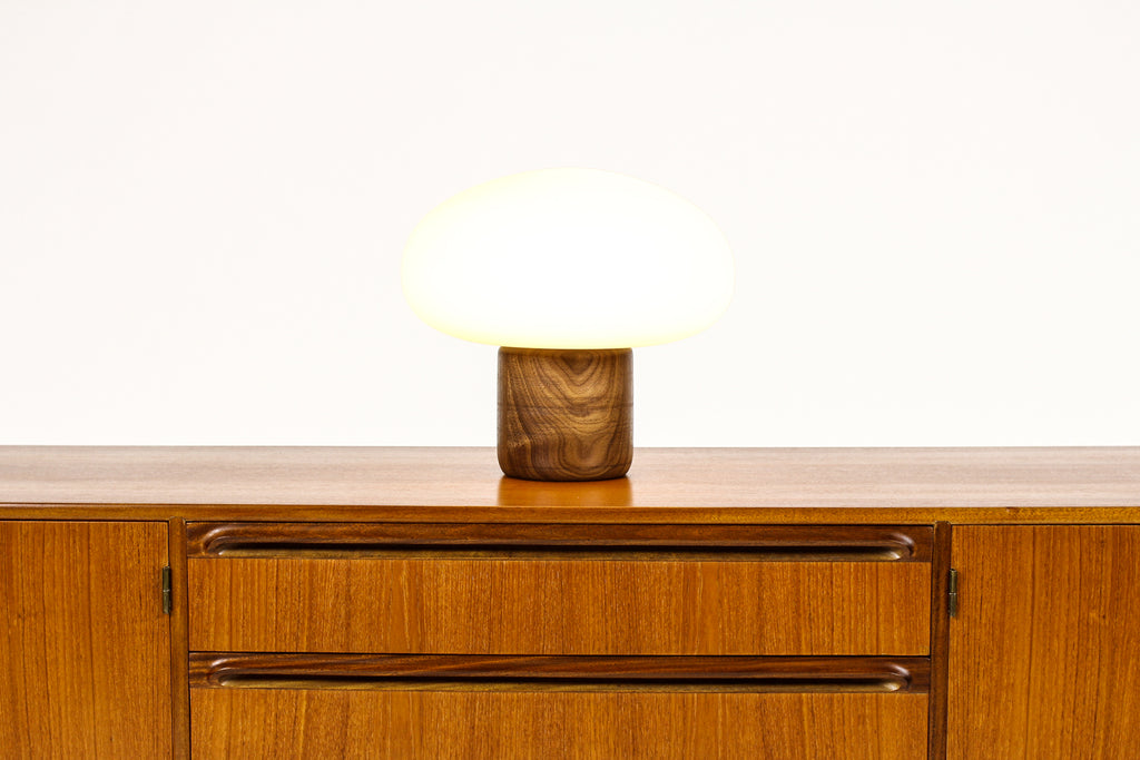 #1709 - Studio Craft Walnut Mushroom Table Lamp — Lathe Turned with Glass Globe — TL4