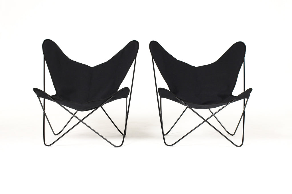 #1602 — Vintage Mid Century BFK Hardoy Iron Butterfly Chairs for Knoll — Black powder coat + black canvas slings — Pair