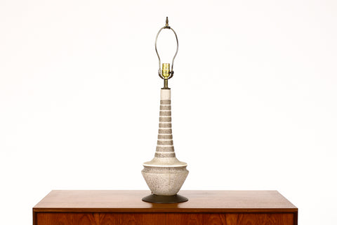 #1349 — Vintage Mid Century Ceramic Table Lamp — Gray + White Striped Glaze — Brass Detail