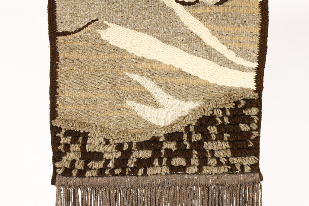 #1353 — Mid Century Woven Wall Hanging / Fiber Art — Abstract landscape — Earthtones
