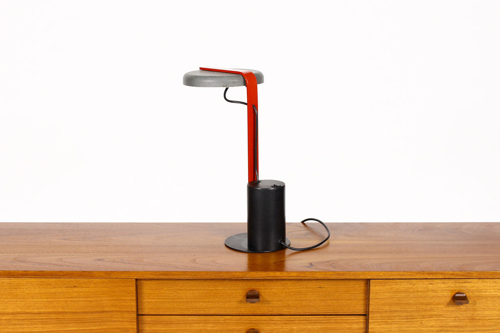 #752 – Vintage Memphis Designer Desk Lamp by Ron Rezek / Artemide – Black + Charcoal Grey w/ Red Detail