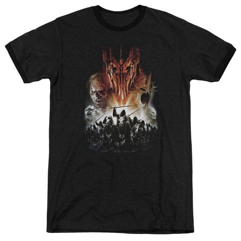 LORD OF THE RINGS - EVIL RISING UNISEX RINGER T-SHIRT