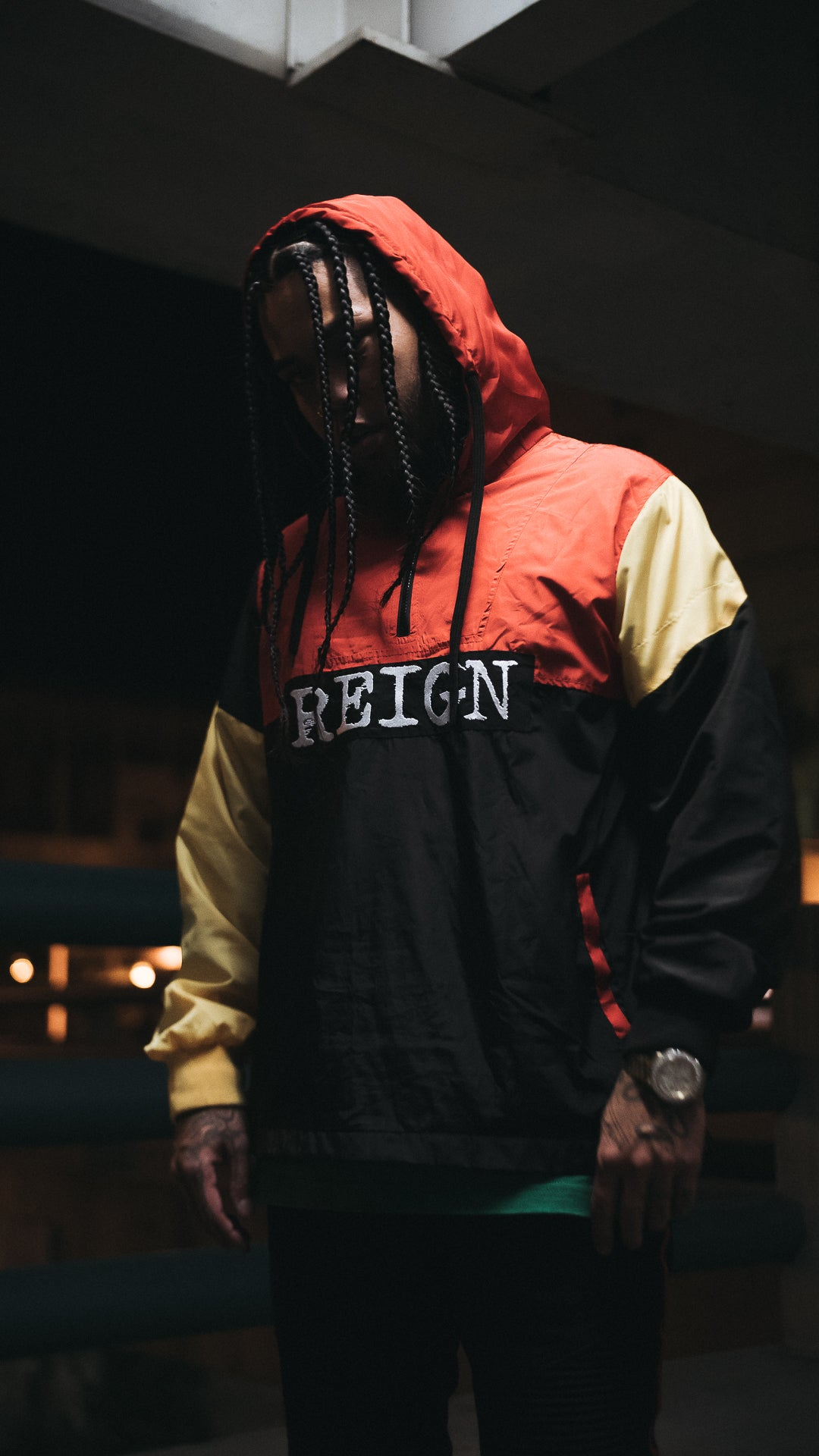 REIGN Windbreaker Jacket - Red/Black/Yellow