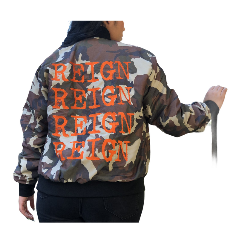 Bomber Jacket - Camo / Orange Reign