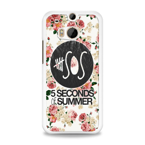 5SOS Floral fitted HTC One M8 Case | yukitacase.com