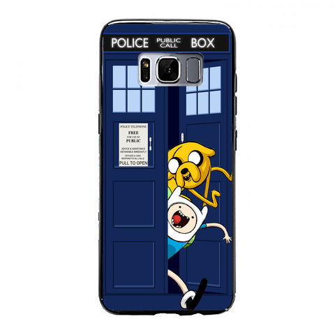 Adventure Time Jake Finn In Dr Who Tardis Call Box Samsung Galaxy S8 Plus Case | yukitacase.com