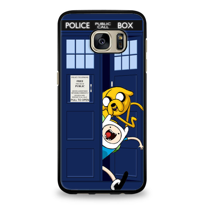 Adventure Time Jake Finn In Dr Who Tardis Call Box Samsung Galaxy S7 Edge Case | yukitacase.com