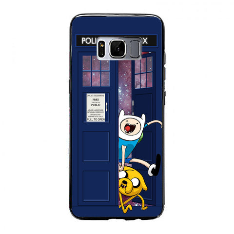 Adventure Time Jake Finn In Dr Who Tardis Call Box Galaxy Nebula Samsung Galaxy S8 Plus Case | yukitacase.com