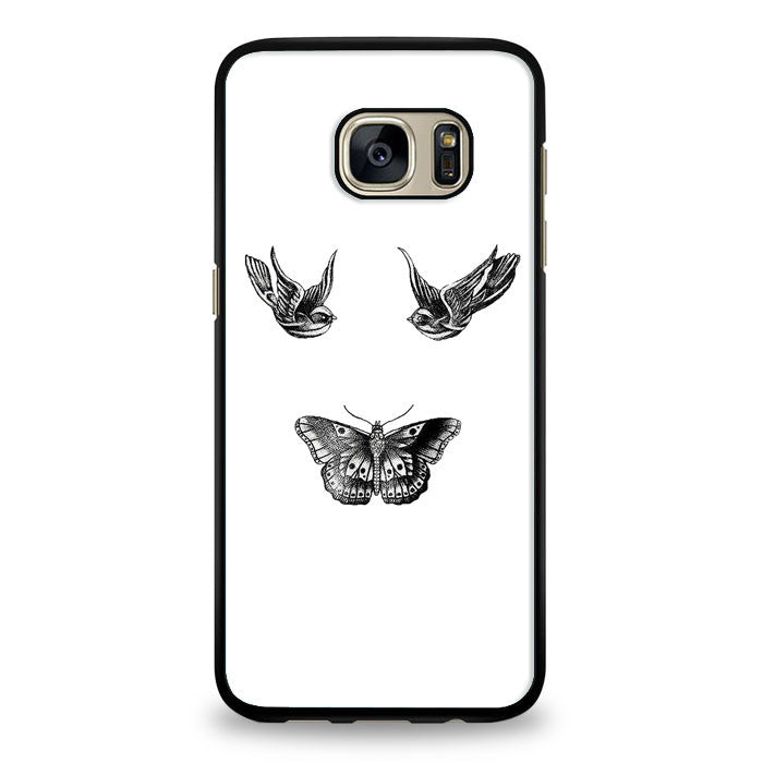 Birds and butterfly tattoos Samsung Galaxy S7 Edge Case | yukitacase.com