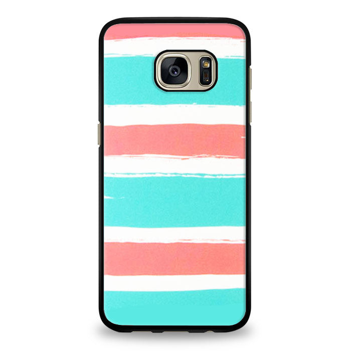 Blue coral colorblock stripe Samsung Galaxy S6 Edge Plus Case | yukitacase.com