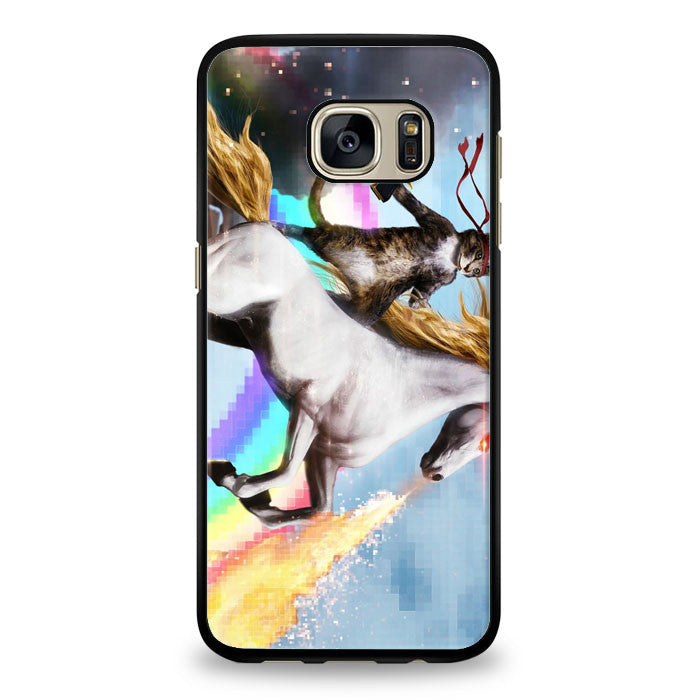 Cat Riding Unicorn with Gun Samsung Galaxy S6 Edge Plus Case | yukitacase.com