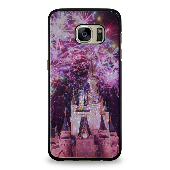 Disney Castle Fireworks Design On Nebula Samsung Galaxy S6 Edge Plus Case | yukitacase.com