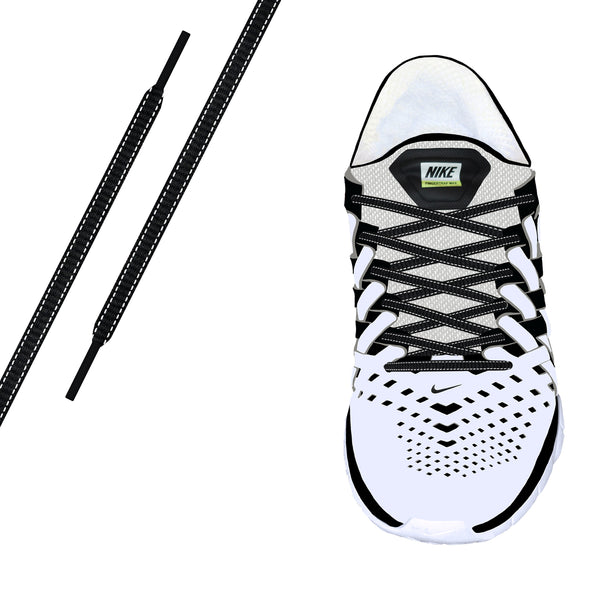 Black Reflective Oval Athletic Laces