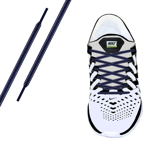 Navy Reflective Oval Athletic Laces