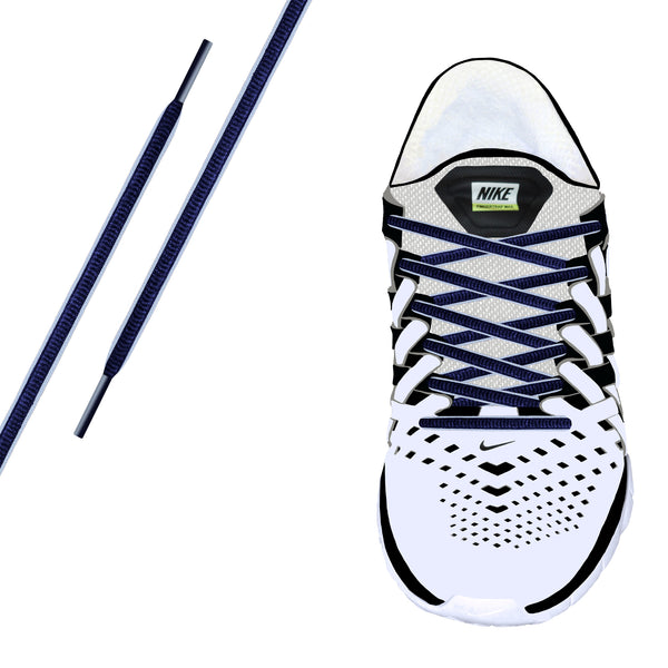 Navy & White Piping Oval Athletic Lace