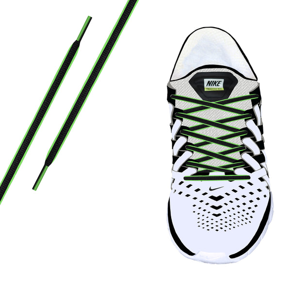 Black & Neon Green Piping Oval Athletic Lace