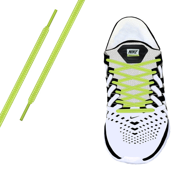 Neon Yellow Reflective Oval Athletic Laces