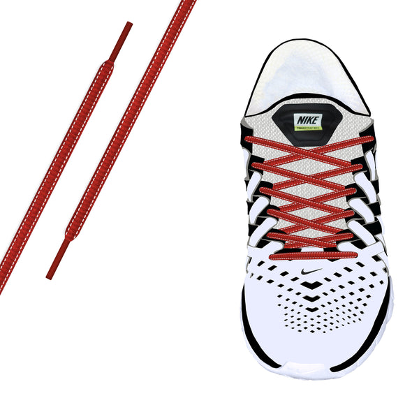 Red Reflective Oval Athletic Laces