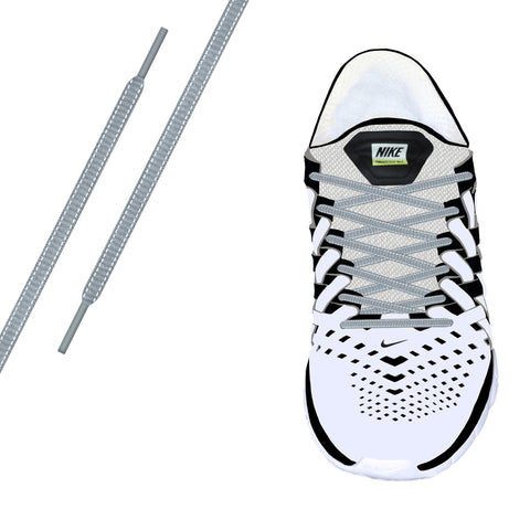 Sky Grey Reflective Oval Athletic Laces