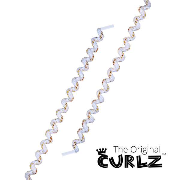 White & Shiny Gold Curlz™ No-Tie Lace
