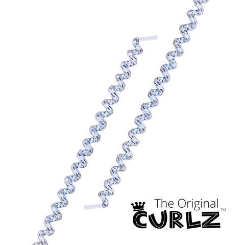 White & Shiny Silver Curlz™ No-Tie Lace