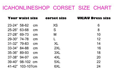 Corset size guidelines icahonlineshop