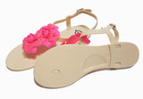 Pink Flower Embellished Matte Nude Strappy Thong Sandals