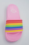 Multicolor All Pink Rainbow Strap Slides