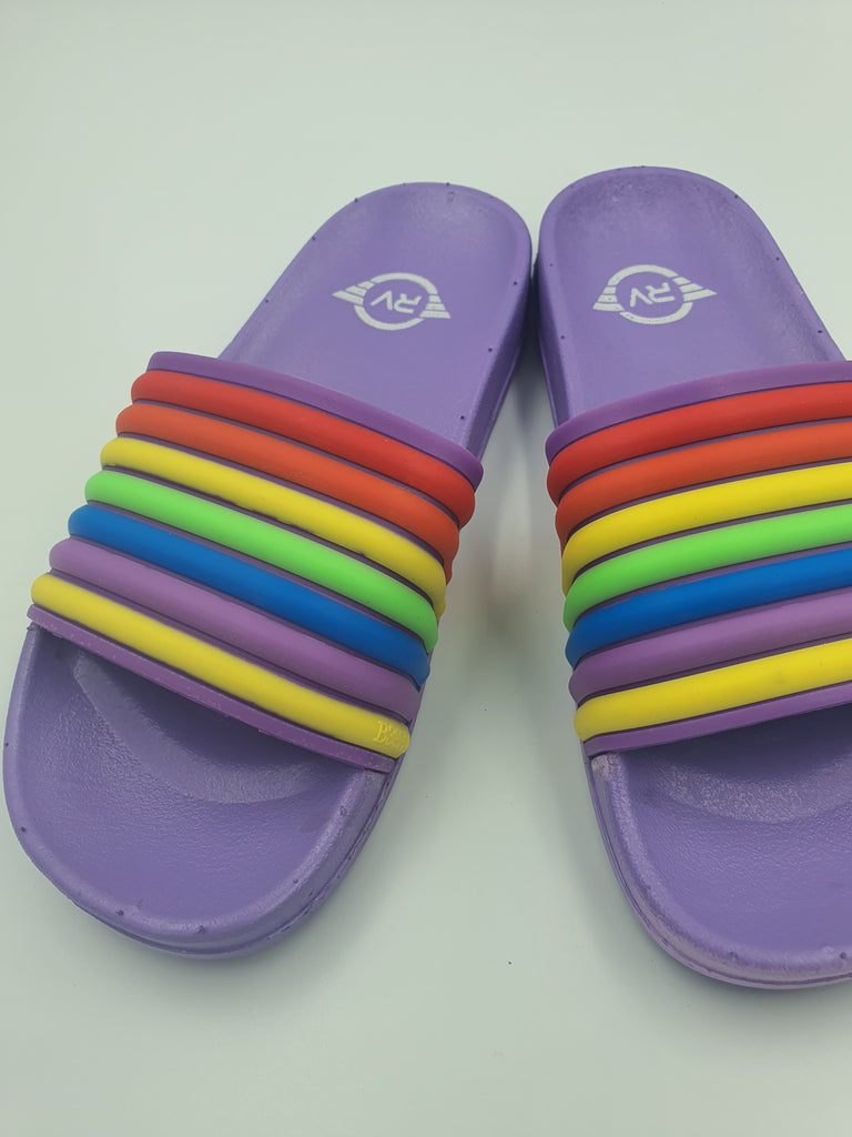 Multicolor Violet Rainbow Strap Slides