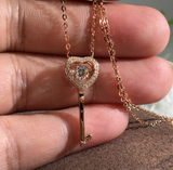 ICAHKYNL0813A Rose Gold Key Shape Dancing Zircon Necklace