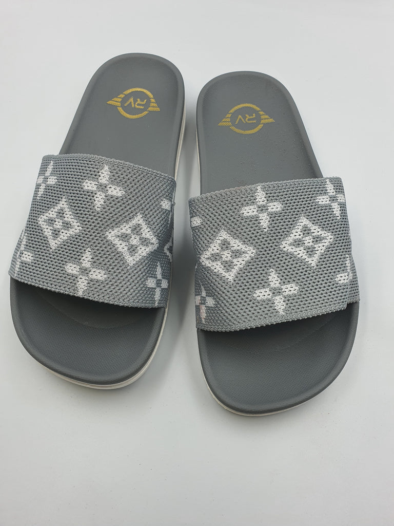 Printed Gray Strap Slides