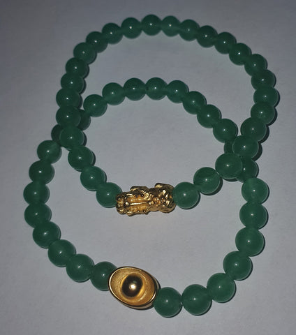 Minimalist Natural Jade Semi Precious Stone with Gold Plated Lucky Charms