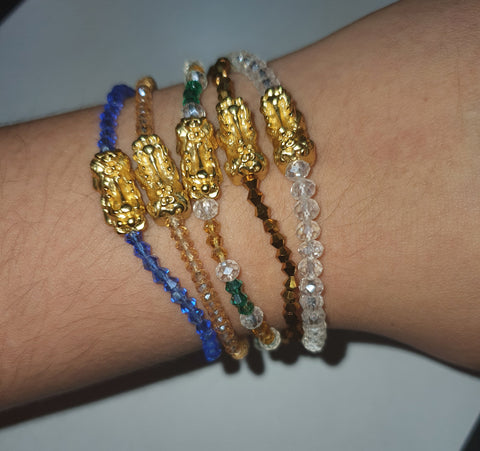 Minimalist Semi Precious Stone or Swarovski with Gold Plated Lucky Charms