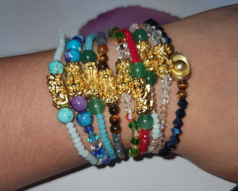 Minimalist Semi Precious Stone or Swarovski with Gold Plated Lucky Charms 2