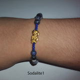 Minimalist Natural Sodalite Semi Precious Stone with Gold Plated Lucky Charms