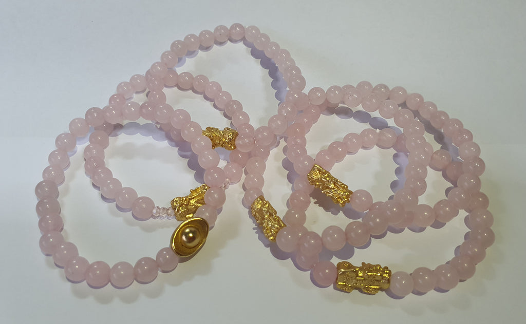 Minimalist Natural Rose Quartz Semi Precious Stone with Gold Plated Lucky Charms