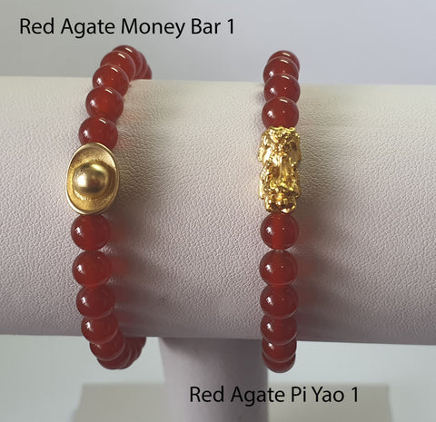 Minimalist Natural Red Agate Semi Precious Stone with Gold Plated Lucky Charms