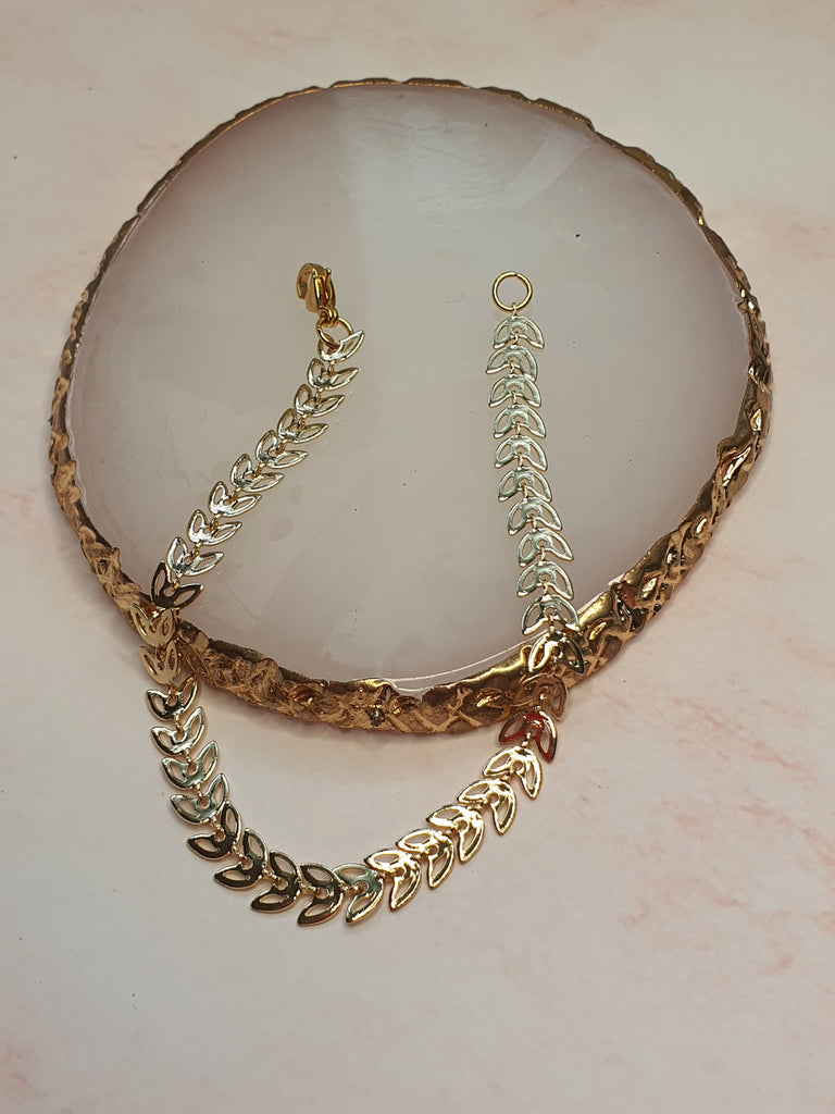 14k Gold Plated Willow Leaf 1 chain Bracelet