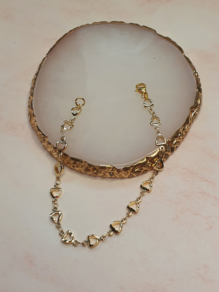 14k Gold Plated All Hearts 2 chain Bracelet