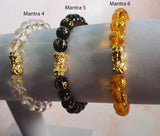 Mantra Natural Glass Beads with Gold Plated Pi Yao