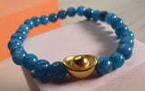 Minimalist Natural Dark Aqua Angelite  Semi Precious Stone with Gold Plated Lucky Charms